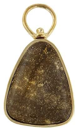 Marla Aaron Petrified Menina Wood Charm - Yellow Gold