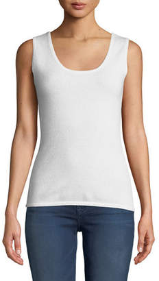 Neiman Marcus Scoop-Neck Cashmere Tank Top, Plus Size