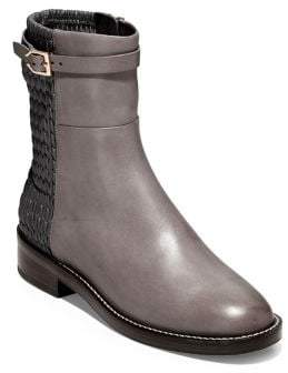 Cole Haan Lexi Grand Stretch Leather and Woven Ankle Boots