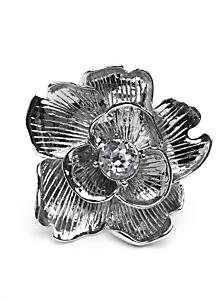 Kenneth Jay Lane Flower Crystal Ring: Silver