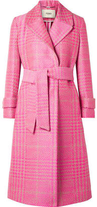 Prince Of Wales Checked Jacquard Coat - Pink