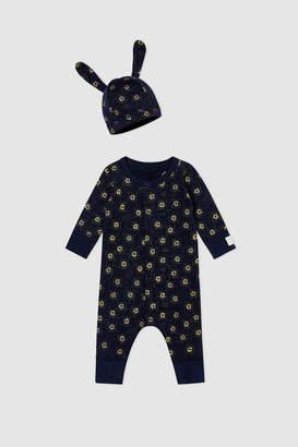 Petit Bateau Baby Gift Set - Unisex Romper and Beanie Hat (Navy)