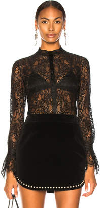 Jonathan Simkhai Mixed Lace Ruched Bodysuit