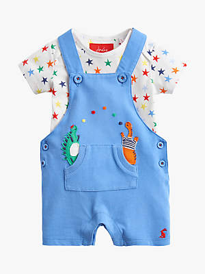 Joules Baby Joule Wade Applique Dinosaur Dungaree and T-Shirt Set, Blue