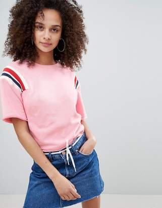 Bershka cropped sweat top with stripe shoulder in pink