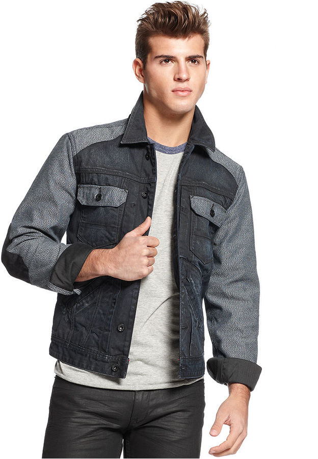 GUESS Jacket, Elbow-Patch Mixed Jean Jacket