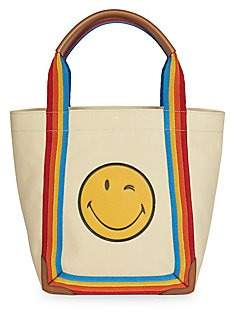 Anya Hindmarch Women's Small Smiley Face Rainbow Trim Canvas Tote Bag