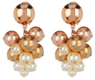 Oscar de la Renta Imitation Pearl Vine Cluster Clip On Earrings