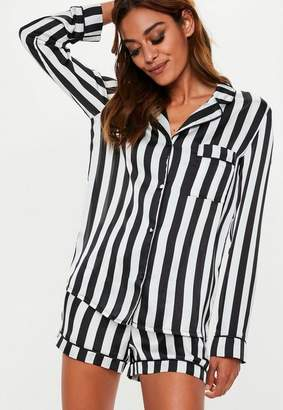Missguided Black Satin Monochrome Long Sleeve Pyjama Shirt