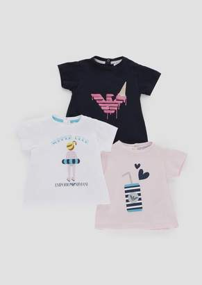 Emporio Armani Set Of Three T-Shirts In Soft Jersey With Summer Print
