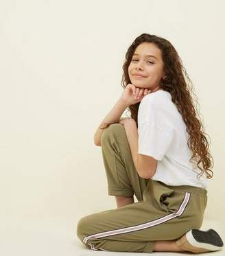 New Look Girls Khaki Tape Stripe Side Tapered Trousers