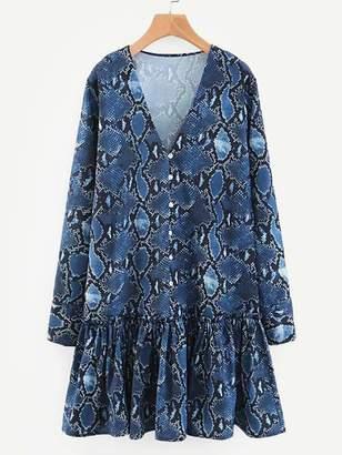 Shein V-neck Snakeskin Print Ruffle Hem Dress