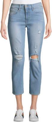 Levi's Premium Curvy Straight-Leg Cropped Distressed Jeans