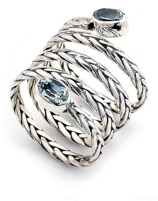 Samuel B Jewelry Sterling Silver Bezel Set Blue Topaz End Byzantine Coil Ring