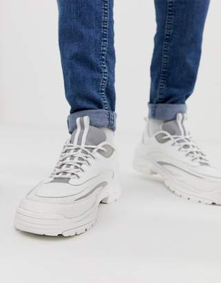 Asos Design DESIGN sneakers in white with reflective panels and chunky sole