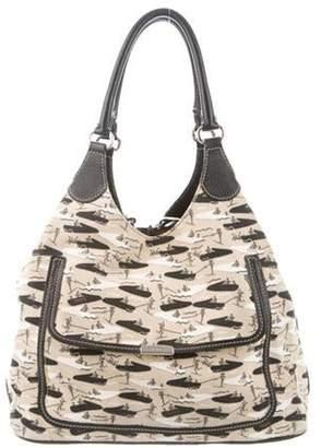 Tod's Leather Trim Canvas Shoulder Bag Beige Leather Trim Canvas Shoulder Bag