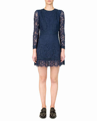 The Kooples Long-Sleeve Open-Back Mini Lace Dress