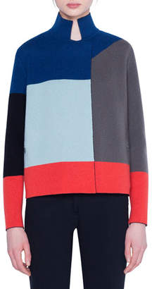 Akris Cashmere Colorblocked Cardigan