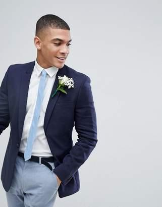 Asos Design Wedding Super Skinny Blazer In Navy Linen