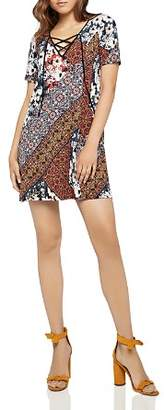 BCBGeneration Lace-Up Patchwork-Print Dress