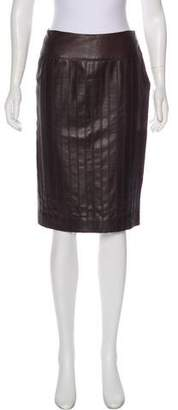 Agnona Leather Knee-Length Skirt