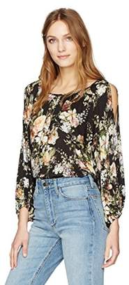 Velvet by Graham & Spencer Women's Floral Print Cold Shoulder Blouse