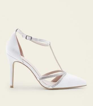 New Look Off White Satin Diamante T-Bar Wedding Courts