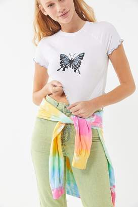 Urban Outfitters Monarch Butterfly Lettuce-Edge Baby Tee