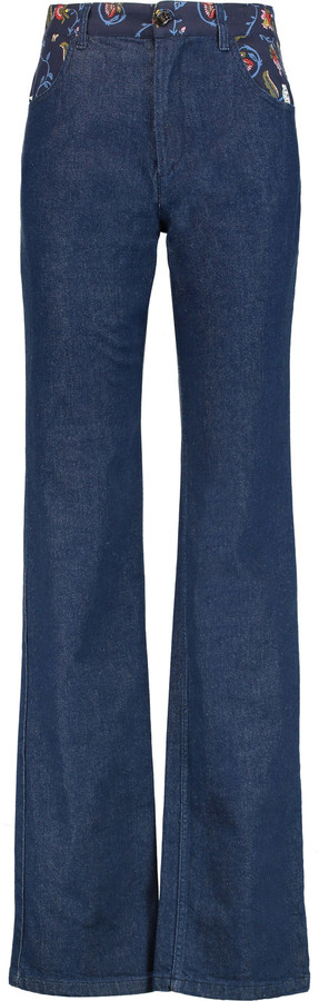 See By ChloeSee by Chloé Printed crepe-paneled high-rise bootcut jeans