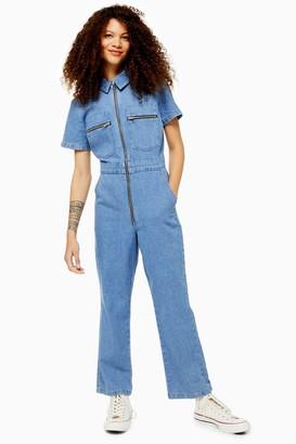 Topshop PETITE Mid Blue Short Sleeve Boiler Suit