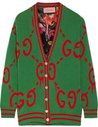 Gucci Reversible Wool Jacquard-knit And Printed Silk-twill Cardigan - Green