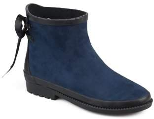 Brinley Co. Women's Faux Suede Bow Ankle Rainboots