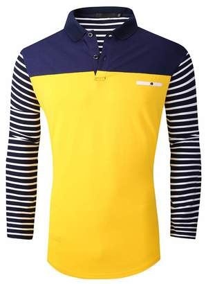 e94b0468e FRTCV Polo Shirts for Men Long Sleeve Casual Fit Golf T-Shirts H01 Yellow  Asian