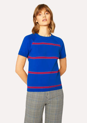 Paul Smith Women's Indigo Stripe Cotton Short-Sleeve Sweater