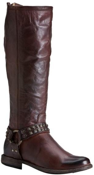 Frye Phillip Stud Harness Boot in Dark Brown
