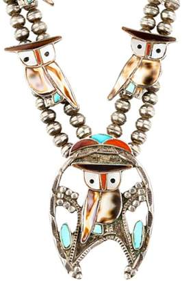 925 Sterling Silver With Multi Gemstone Zuni Owl Squash Blossom Necklace