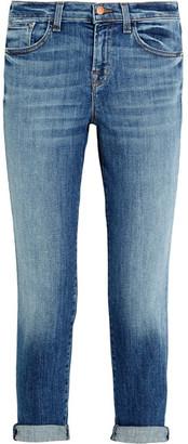 J Brand - Sadey Cropped Mid-rise Slim-leg Jeans - Mid denim $240 thestylecure.com