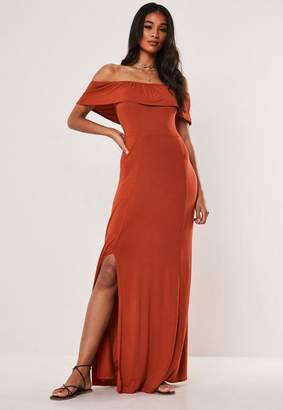 Missguided Rust Bardot Overlay Maxi Dress