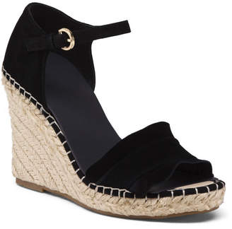 Suede Ruffle Espadrille Wedge Sandals