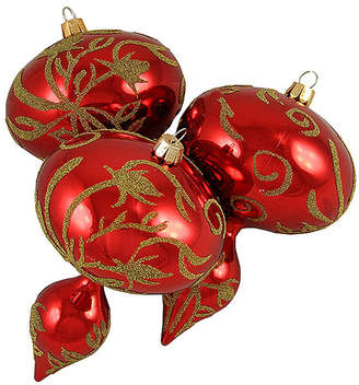 Asstd National Brand 3ct Red and Gold Beaded Floral Shatterproof Christmas Finial Ornaments 5