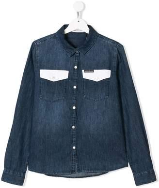 Calvin Klein Kids TEEN contrast pocket denim shirt