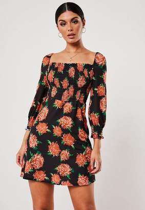 afdd6b7722 Missguided Black Floral Print Shirred Waist Skater Dress, Black