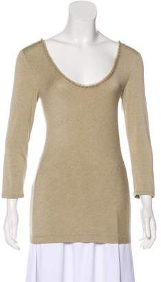 Donna Karan Long Sleeve V-Neck Top