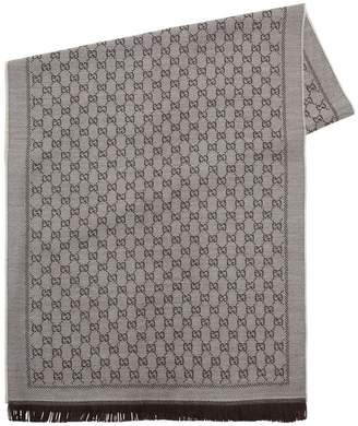 Gucci Gg Supreme Fringed Wool Scarf