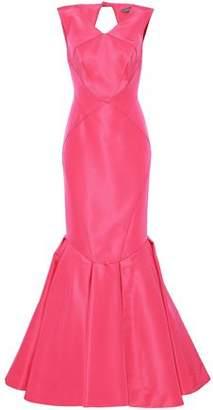 Zac Posen Cutout Flared Silk-Faille Gown