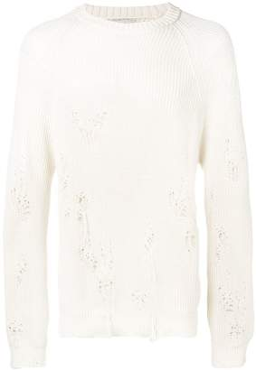 Laneus distressed long-sleeve sweater