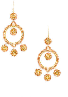 Miguel Ases Champagne Beaded Drop Earrings