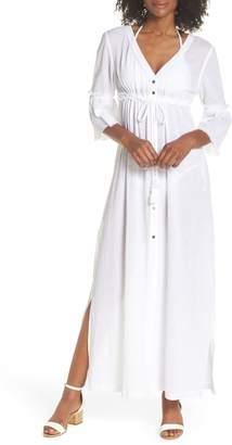 Heidi Klein Portofino Tie Front Cover-Up Maxi Dress