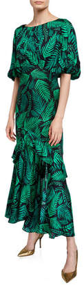Rixo Cheryl Palm Leaf-Print Georgette Dress