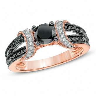 Zales 1 CT. T.W. Enhanced Black and White Diamond Collar Engagement Ring in 10K Rose Gold